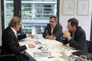 Heftpaten-Gespräch (v.l.): Burkhard Fröhlich, Stephan Adelberg und Ralf Hartmann-Linden.