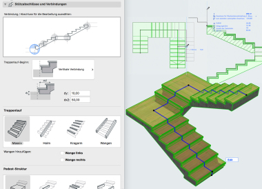 Treppenwerkzeug Allplan: Auswahl der Treppenkonstruktion