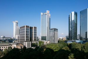 Der Neubau in der Skyline Frankfurts am Main