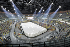 Blick in den Stadioninnenraum der UGMK Arena