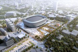 Der Entwurf der UGMK-Arena inmitten von Jekaterinburg in Russland