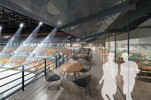 Blick in den Restaurantbereich am Stadioninnenraum