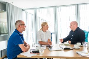 Heftpaten-Gespräch (v.l.): Benedikt Kraft, Sandra Greiser und Rudi Scheuermann