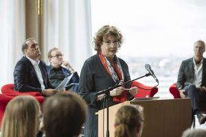 Katharina C. Hamma, Geschäftsführerin der Koelnmesse auf der europäischen Fachpressekonferenz in Amsterdam