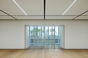 Die Fins lassen gezielt Licht in den Innenraum und versperren die Sicht nach draußen nicht – hier ein Gallery Space in der CEO Etage