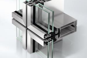 Abb.3: Typische Element-Fassade (USC 65 F) mit umlaufenden Kopplungsprofilen