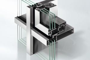 Abb.8: Schmale Pfosten-Riegel-Fassade (FWS 35 PD) mit additivem Lüftungsflügel
