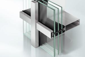 Abb.2: Pfosten-Riegel-Fassade (FWS 35 PD) mit äußeren Deckkappen und extrem schmalen Rahmenansichtsbreiten