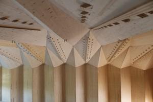 Abb. 4: Théatre de Vidy, Lausanne: In der Untersicht auf die gefaltete Dachstruktur sind die  Zapfen der Holz-Holz Verbindungen abzulesen