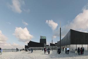 Abb. 2: Guggenheim Helsinki, Wettbewerb 2015: Die opaken Bereiche des mit dem 1. Platz prämier-ten Projekts sind mit einer Holzverschalung aus karbonisiertem Holz verkleidet (Architekten:  Moreau Kusunoki Architects, Fassadenplanung: Arup Berlin)