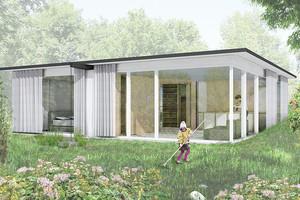 Die Fassade wird aus grossformatigen, weiss gestrichenen Holzfenstern und geschlossenen, vorfabrizierten Aussenwänden aus Holz gebildet<br />