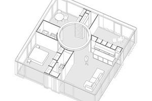 Alle Räume werden über einen kreisrunden Bewegungs- und Aufenthaltsraum miteinander verbunden<br />