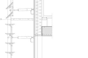Fassadenschnitt, horizontale Lamellen, M 1:25