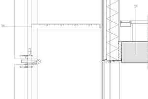 "Fassadenschnitt, vertikale Lamellen, M 1:25<div class=""legenden"">1Solarpaneel<br />2Dämmung<br />3Schutzabdeckung<br />4Stahltragwerk<br />5Bedruckte Lamellen<br />6Stange<br />7Elektromotor<br />8Inox Tragwerk<br />9Beton<br />10Betonaktivierung<br />11Wartungsgang<br />12Einfahrbare Treppe</div>"