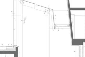 Detailschnitt Glaskonstruktion, M 1:75