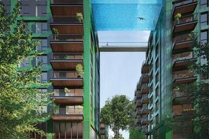 Abb. 3: Entwurf eines Glasschwimmbeckens in London (Architekt James O'Callahan). Inzwischen wurde Glas über der Straße durch Acrylat ersetzt