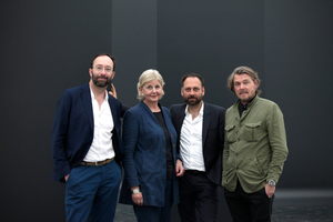 Das Kuratorenteam (v.l.): Wolfram Putz, Marianne Birthler,  Thomas Willemeit, Lars Krückeberg