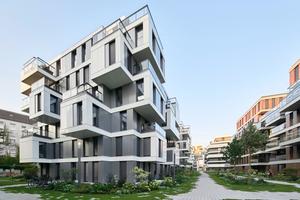 Die Architekten schaffen durch Vor- und Rücksprünge der Fassaden ein belebtes Bild und gleichzeitig private Freisitze