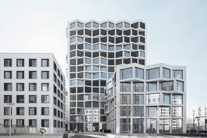 """Ursprünglich waren die Wohnhochhäuser auf dem Areal """"Am Hirschgarten"""" für eine reine Büronutzung gedacht. Eine Option auf 30% Wohnnutzung im Mischkerngebiet veranlasste den Projektentwickler, eine Marktanalyse für eine Wohnnutzung in Auftrag zu geben"""