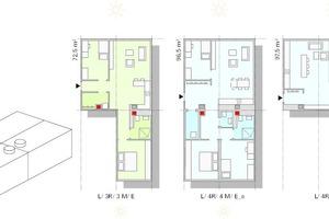 """Modulbaukasten Wohnungstiefe 15,04 m <div class=""""legenden"""">K = Wohnungstiefe kurz, 7,5m<br />M = Wohnungstiefe mittel, 11,28 m<br />L = Wohnungstiefe lang, 15,04 m<br />R = Raum<br />M = Module<br />H = Halbmodule<br />S = Puzzleteil mit Schacht<br />O = Puzzleteil ohne Schacht<br />E = Erschließung am Wohnbereich<br />G = Erschließung am Schlafbereich</div>"""