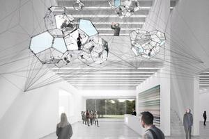 """Foyer mit dem Kunstwerk """"Sundial for Spatial Echoes"""" von Tomás Saraceno ↓ Die Ausstellung wird vom Kuratorenteam der Klassik Stiftung gemeinsam mit  den Architekten Holzer Kobler konzipiert."""