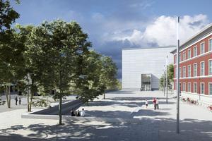 Eingangsportal mit Museumsvorplatz: Das Büro Vogt Landschaftsarchitekten (Zürich/Berlin/London) überzeugte ebenfalls in einem Wettbewerbsverfahren mit seinem Konzept für die Außenraumgestaltung