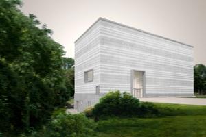 Südostansicht: Der Neubau umfasst 2 250 m² Ausstellungsfläche und Flächen für Workshops, Besucherservice, Shop, Lounge und Gastronomie