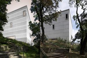 bauhaus museum weimar: Gegenüberstellung der Visualisierung und des derzeitigen Ist-Stands der Südwestansicht