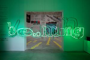 """Giardini, Spanischer Pavillon: Vorsicht: Lichtskulptur! Dahinter Zahlenwerke, Diagramme, der ganze Wahnsinnn hochschulinterner  Diskurse und Forschungen, 143 Beiträge ... :  """"Becoming"""", ja, aber was wurde wirklich?"""