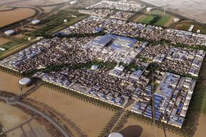 Masdar City, Foster and Partners, Vision einer CO<sub>²</sub>-freien Stadt, inspiriert von traditionellen Städten versorgt durch regenerative Energien. LAVA entwarf das Stadtzentrum als öffentlichen von Schirmen überdeckten Platz