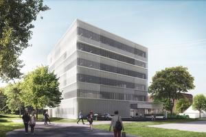 Visualisierung des Neubaus des EBS Centers (Electronic Based Systems Center) auf dem Areal der Inffeldgründe der TU Graz von AllesWirdGut