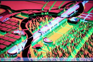 """Auf dem Monitor: der Entwurf von Schultes Frank Architekten im Spreebogenwettbewerb 1992. Die """"Steilkurve"""" ist da schon vorhanden (vorne links)"""