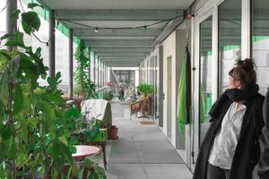 Die 3m breiten Laubengänge erlauben nachbarschaftliche Treffen und erweiteren die Wohnungen ins Freie