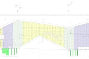 Südfassade mit Aufhängungen (blau) in den Bereichen, wo die Sichtbetonfassade mit Zugankern aufgehängt ist (gelb), und Verankerungen (rot) in den Bereichen, wo die Sichtbetonfassade (violett) auf Festlager als Fixpunkte (grün, breit) oder auf Konsolen mit Gleitlagern (grün, schmal) abgestellt ist. In den Fassadenecken (hellgrün) sind keine Anker gesetzt worden, um die notwendige Bewegungsfreiheit der Fassade zu gewährleisten