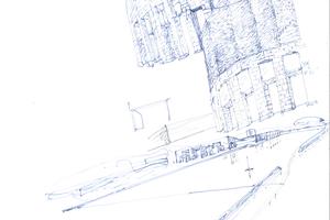 Sportkomplex für die Universiade '97, Palermo: Details der Fassadengestaltung 1994, Stift auf Papier und Expo '98 Pavillon Portugals, Lissabon, Portugal 1994, Stift auf Papier