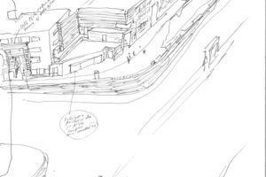 Wohnsiedlung De Punt en De Komma, Den Haag Vogelperspektive der Straßenecke mit Haagse Portiek 1986, Stift auf Papier, 30 × 21 cm