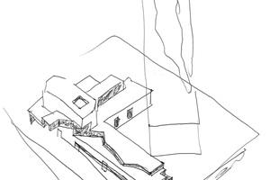 Haus in Francelos, gezeichnet von Álvaro Sizas Sohn Álvaro Leite Siza Axonometrisches kreuzähnliches Konzept 2000, Stift auf Papier, 30 × 20 cm