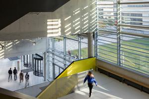 Jedes der sechs Gebäude auf dem Campus ist mit einer Farbe markiert, die sich – entlang Treppenläufen, Sitznischen, Hörsaleingängen und Möblierung – durch den gesamten Bau zieht