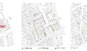 Piktogramme zum städtebaulichen Konzept, o.M.zentrale EinrichtungenFachbereicheTiefgarage, Anlieferung, FeuerwehrGrünraum