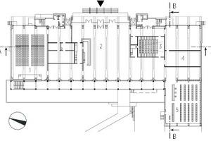 Erdgeschoss, M 1:1 000 1Veranstaltungssaal 2Foyer mit Bar 3Kino 4Ausstellung 5Bibliothek 6Atelier 7Medialab 8Fotostudio 9Unterrichtsraum 10Büro 11Lichthof 12Besprechung