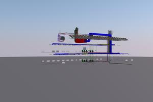 Im Laufe eines Projekts werden eine Vielzahl von Fachmodellen durch die einzelnen am Projekt beteiligten Planungsdisziplinen erstellt – angefangen vom Bestands- und Geländemodell über Straßenbau- und Brückenmodell bis hin zum Architektur-, Tragwerks- und HLSK-Modell (hier: HLSK-Modell).