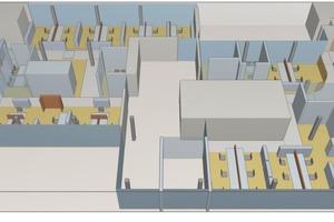 Die vom Akustikbüro Oldenburg erstellten 3D-Modelle zeigen die verwendeten Materialien mit ihren akustischen Eigenschaften. Durch Ray-Tracing werden die Schallausbreitung und die akustischen Eigenschaften des Raums simuliert. Schallabsorbierende Flächen sind dunkel dargestellt, schallreflektierende Flächen hell