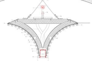 """Detailschnitt Deckensegel, M 1 : 7,5<div class=""""legenden""""><br /><br />1Indirekte LED mit lichttechnisch wirksamen Diffusor. CRI> 80/ 4000 K getrennt schaltbar/ dimmbar<br />2Kabelkanal Alu Lochblech 1,5 mm stark<br />3Lochblech abgekantet durchgehend, pulverbeschichtet, verschweißt mit Lochblechstreifen (6)<br />4Aussparung Mittelspante<br />5Flexibles Leerrohr <br />6Lochblechstreifen 1,5 mm stark, 30 mm breit<br />7Absorber 50 mm<br />8Spannblech 1 mm stark, 40 mm zur Befestigung des Absorbers<br />9Filz 6 mm<br />10Spanplattenschraube 20 mm<br />11Eichenleisten 20 x 15 mm<br />12UK Direktleuchte-Profil, Multiplex 18 mm<br />13Direktleuchte, LED/ CRI> 80/ 4000 K dimmbar mit Mikroproprismentechnologie<br />14Eiche Holzrahmen Direktleuchte<br />15Bewegungsmelder<br />16Multiplex 19 mm als Befestigung-UK für indirekte Beleuchtung<br />17Stahlwinkel Abdeckung<br />18Deckenabhänger mit Stahlseil 3 mm<br />19Holzverbindung Winkel 30 mm<br />20Ösenschraube M8 Edelstahl<br />21Einschlaganker Fischer EA II M8</div>"""