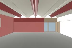 3D-Raumakustikmodell zur Berechnung des Umfangs und der Verteilung der schallabsorbierenden Maßnahmen im Raum mit farblicher Kennzeichnung der schallabsorbierenden Flächen (rot)