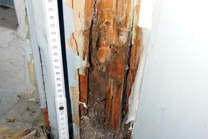 Bild07: Holzzarge der Tür zur Kellertreppe nach Entfernung geschädigten Holzes