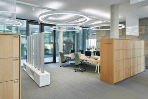 Auf Sidebords aufgesteckte Akustikelemente schlucken den Schall und zonieren gemeinsam mit den Holzschränken die Büroarbeitsbereiche