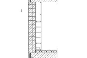 """Fassadenschnitt, M 1 : 100<div class=""""legenden"""">1Dachaufbau:</div><div class=""""legenden"""">OSB dicht verklebt als Dampfsperre 15 mm<br />Zwischensparrendämmung<br />Sparren 180/220 mm<br />Dampfbremse<br />Hinterlüftung 40 mm/ Lattung 60/40 mm<br />Holzschalung 25 mm<br />Metalldachtrennlage/ Wirrgelege zur Feuchteableitung<br />Doppelstehfalzdeckung Kupfer voroxidiert</div><div class=""""legenden"""">2Schneefang-Klemmsystem, Kupfer</div><div class=""""legenden"""">3Entwässerungsrinne, Kupfer</div><div class=""""legenden"""">4Wandaufbau Traufe:<br />OSB dicht verklebt als Dampfsperre 15 mm<br />Zwischensparrendämmung<br />Pfosten 180/180 mm<br />mineralwollgedämmes Mauerwerk 425 mm<br />Außenputzsystem mit doppeltem Gewebestreifen 20 mm</div><div class=""""legenden"""">5Wandaufbau:<br />Innen-Kalkputz 15mm<br />mineralwollgedämmtes Mauerwerk 425 mm<br />Grundputz 15 mm (aus Leichtunterpuz 10 mm + bewehrtem Unterputz 5 mm)<br />Voranstrich/ Putzgrund<br />Oberputz getönt als Besenstrich 5 mm</div><div class=""""legenden"""">6Wandaufbau Sockel:<br />Innen-Kalkputz 15mm<br />mineralwollgedämmes Mauerwerk 300 mm<br />Perimeterdämmung XPS 120 mm<br />Spritzwasserzone mit Sockelputz min. 300 mm ü. OKG<br />mineralische Dichtungsschlämme bis 50 mm ü. OKG</div><div class=""""legenden"""">7Noppenbahn</div><div class=""""legenden"""">8Bohrpfahl</div>"""