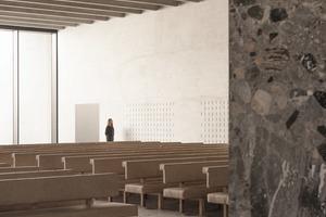 Die Materialien wechseln – die Wände sind neben rohem Beton aus diversen Blöcken mit großen Gerölleinschlüssen