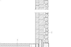 """Fassadenschnitt, M 1:50 <div class=""""legenden"""">1Dachaufbau:<br />Bekiesung, 6,0 cm<br />Bit. Abdichtung, 1,0 cm<br />Gefälledämmung 2%, 2 – 26 cm<br />Mindestdämmung, 12,0 cm<br />Bitumen Dampfsperre, 1,0 cm<br />Stahlbetondecke – Ortbeton, 8,0 cm </div> <div class=""""legenden"""">2Wandaufbau:<br />Innenputz, 2,0 cm<br />HLZ Porotherm, 17 cm<br />HLZ Porotherm, 24,0 cm<br />Kalkzementputz, 2,0 cm<br />Drainagematte, 2,0 cm<br />Natursteinmauer, 24,0 cm</div> <div class=""""legenden"""">3Bodenaufbau:<br />Holzboden Eiche, fallende Breite, 3,0 cm<br />Blindboden, 2,7 cm<br />Balken auf TSD, 5,6 cm<br />Konterbalken dazwischen Holzlehmschüttung, 5,0 cm<br />Schiftholz, 2,7 cm<br />Aufbeton, 25,0 cm<br />Fertigteildecke mit Akustikelementen, 8,0 cm</div> <div class=""""legenden"""">4Bodenaufbau:<br />Naturstein, 7,0 cm<br />Estrich, 9,0 cm<br />PE-Folie<br />Trittschalldämmung 2,0 cm<br />EPS Schüttung, 10,0 cm<br />Stahlbetondecke, 25,0 cm</div> <div class=""""legenden"""">5Wand gegen Erdreich:<br />Noppenmatte<br />XPS-Dämmung, 10 cm<br />WU-Beton, 25 cm</div>"""
