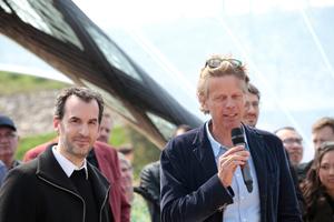 Achim Menges und Jan Knippers bei der Präsentation ihrer Arbeit